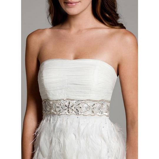 Sue Wong White Chiffon Ostrich and Goose Feathers Beaded Gown Modern Wedding Dress Size 12 (L) Image 2