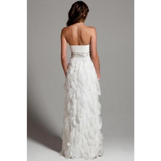 Sue Wong White Chiffon Ostrich and Goose Feathers Beaded Gown Modern Wedding Dress Size 12 (L) Image 3