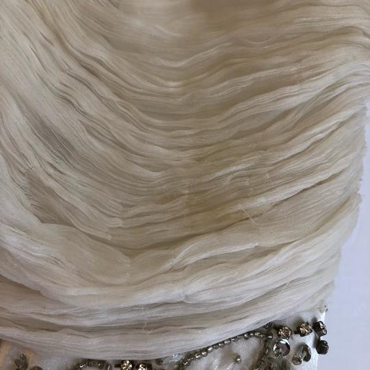 Sue Wong White Chiffon Ostrich and Goose Feathers Beaded Gown Modern Wedding Dress Size 12 (L) Image 7