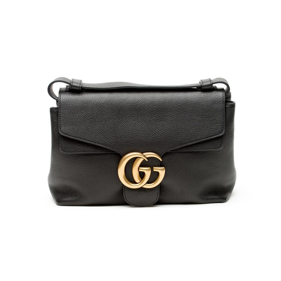 3fc9cb9ce Gucci GG Marmont Black Leather Shoulder Bag - Tradesy