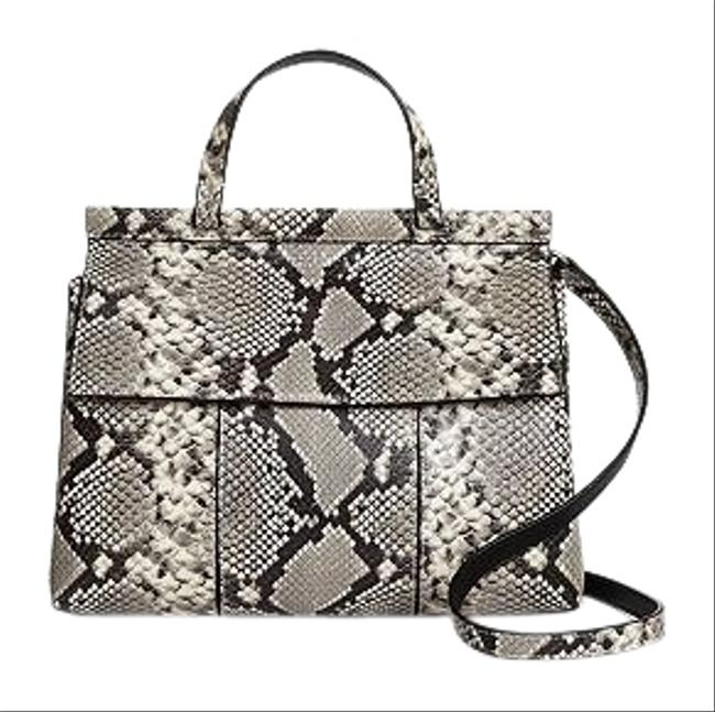 Tory Burch T Block -t Snakeskin Embossed Natural Goat Skin Leather/Cow Leather Satchel Tory Burch T Block -t Snakeskin Embossed Natural Goat Skin Leather/Cow Leather Satchel Image 1