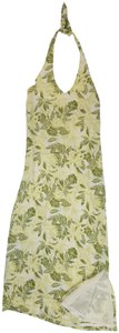 Green yellow white Maxi Dress by Tommy Bahama Silk Halter Maxi
