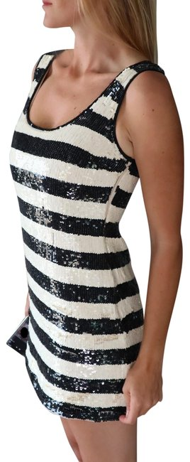 Item - Black / White Striped New and Sequin Mod Mini Short Cocktail Dress Size 4 (S)