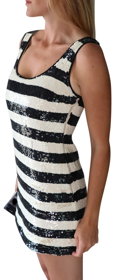 Alice Olivia Black White Striped New And Sequin Mod Mini Short Tail Dress Size 4 S 69 Off Retail