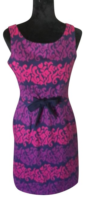 Item - Pink Purple and Navy Sundress Mid-length Short Casual Dress Size 8 (M)