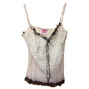 Lipsy Polka Dot 50s Vintage Sleeveless Lace Trim Top Black and Ivory