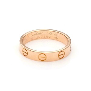 Cartier Mini Love 18k Rose Gold 3.5mm Band Ring Size 49-US 5 w/Cert