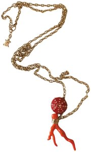 Céline Extremely Rare Vintage Long coral mushroom necklace and ring set