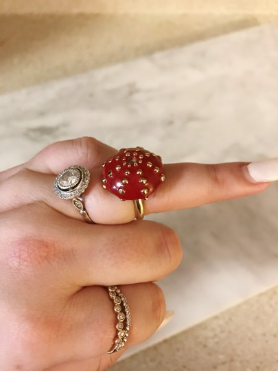 Céline Extremely Rare Vintage Long coral mushroom necklace and ring set Image 10