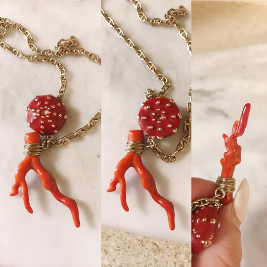 Céline Extremely Rare Vintage Long coral mushroom necklace and ring set Image 3