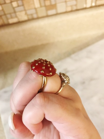 Céline Extremely Rare Vintage Long coral mushroom necklace and ring set Image 8