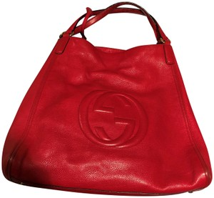 Gucci Soho Leather Tote in Red
