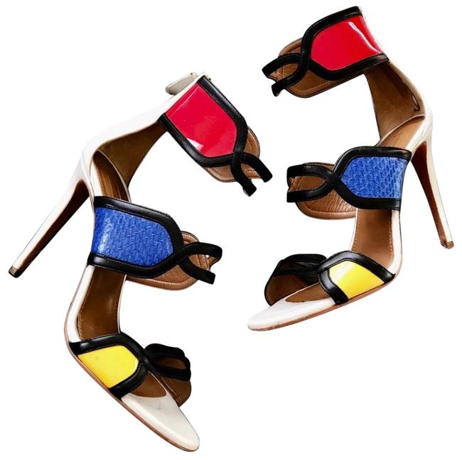 Item - White Red Blue Color Block Caged Booties Sandals Size EU 40 (Approx. US 10) Regular (M, B)