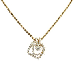 Movado Two Carats Diamond 18k Gold 2 Tier Spinner Pendant & Chain