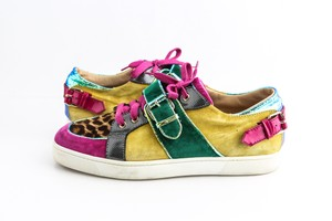 Christian Louboutin Multicolor Suede/Patent with Python Low Sneakers Shoes