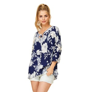 Annabelle Boho Floral Gypsy Top Blue
