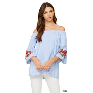Annabelle Boho Gypsy Striped Off Shoulder Top Blue