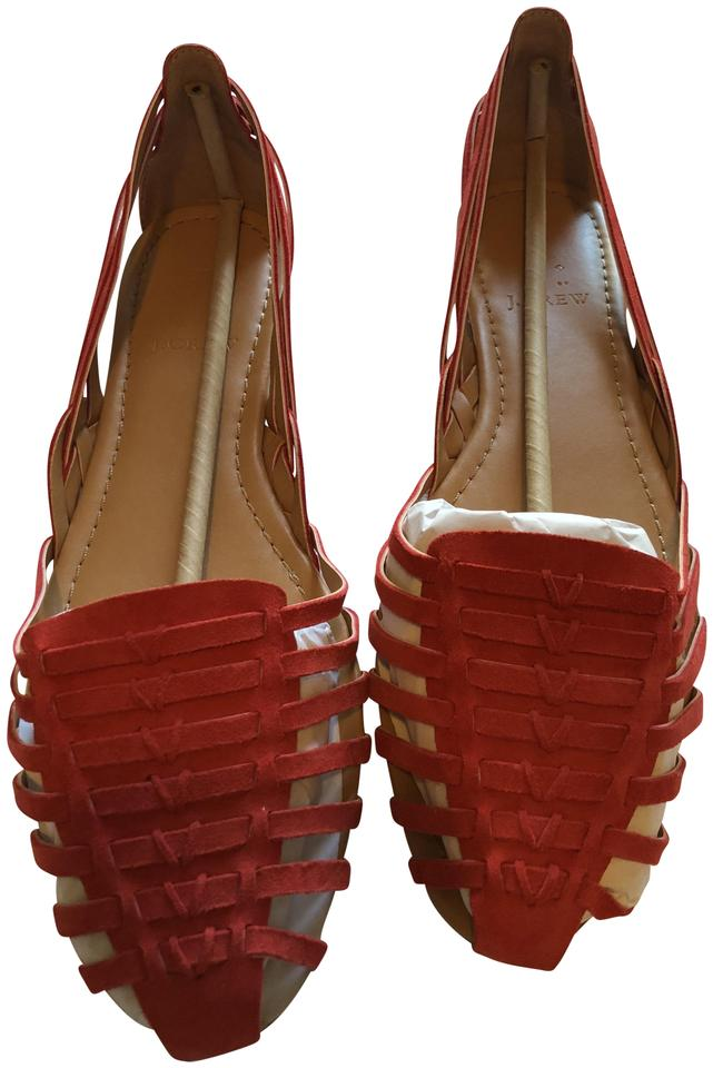 7695adcc2 J.Crew Red Suede Basketweave D'orsay Flats Sandals Size US 10.5 ...