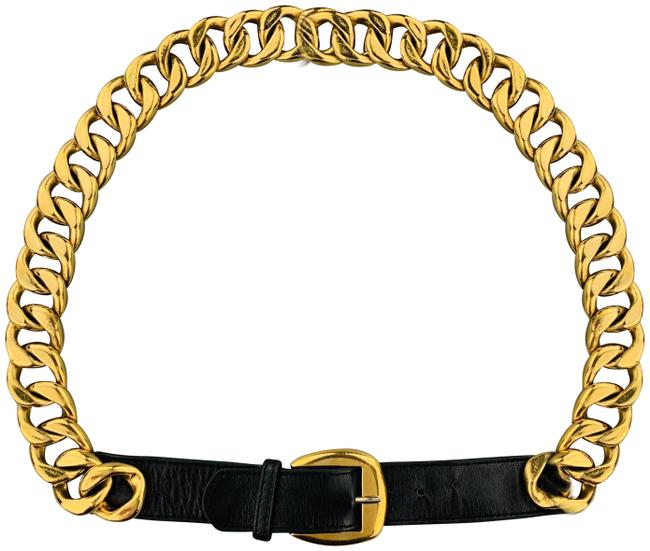 Item - Black & Gold Tone Vintage 1990's Chunky Curb Chain Leather Belt