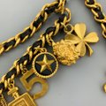 Chanel Vintage 1994 Gold Tone Metal Black Leather Woven Chain Charms Belt Image 5