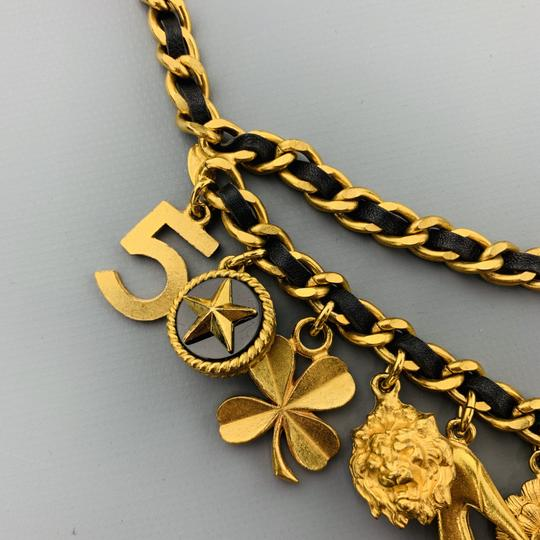 Chanel Vintage 1994 Gold Tone Metal Black Leather Woven Chain Charms Belt Image 6