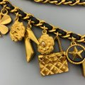 Chanel Vintage 1994 Gold Tone Metal Black Leather Woven Chain Charms Belt Image 7