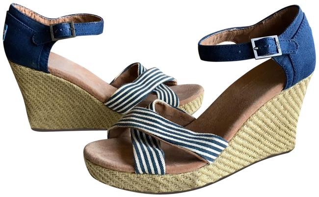 Item - Navy Blue and White 1/2 Wedges Size US 9.5 Regular (M, B)
