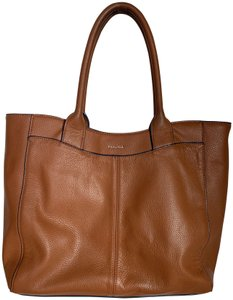 Perlina Leather Shoulder Tote in light brown