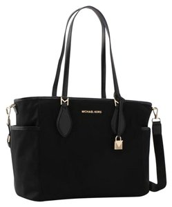 Michael Kors Connie Tote Kelsey Black Nylon And Leather Diaper Bag 62 Off Retail