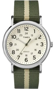 Timex TW2P72100 Men's Two Tone Cloth Bracelet With Beige Analog Dial Watch