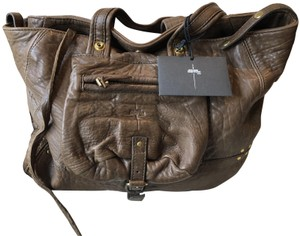 Jérôme Dreyfuss Leather Pebbled Tote in Moka Brown