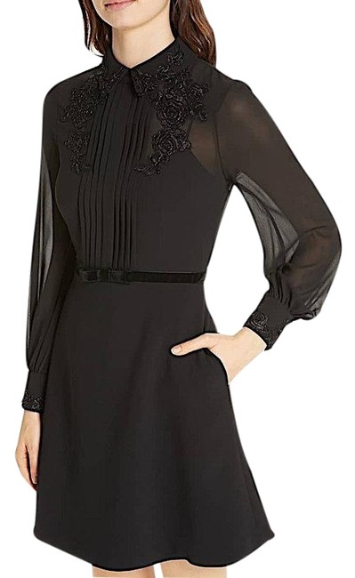 Preload https://img-static.tradesy.com/item/25441395/ted-baker-black-with-tag-amaali-embellished-collar-mid-length-cocktail-dress-size-8-m-0-1-650-650.jpg