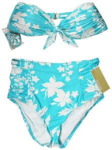 acc62621c355a Michael Kors Turquoise Tie-Front Bandeau Bikini Top And Floral Vine Printed  High-Wa