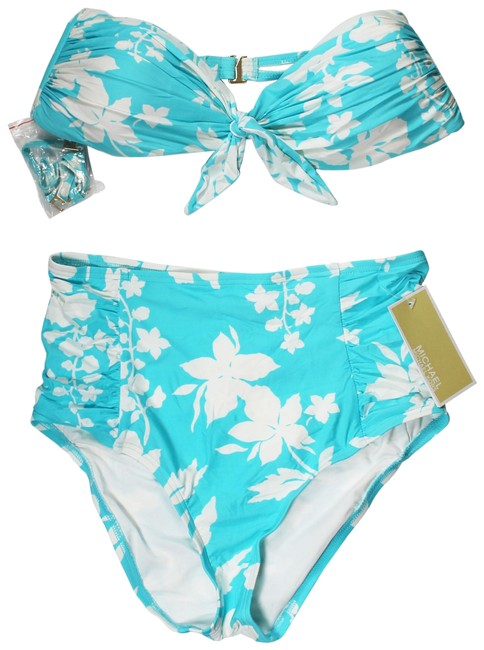Preload https://img-static.tradesy.com/item/25441543/michael-kors-turquoise-tie-front-bandeau-top-and-floral-vine-printed-high-wa-bikini-bottom-size-0-xs-0-1-650-650.jpg