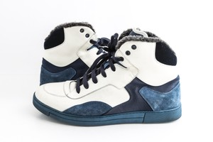 Salvatore Ferragamo Blue Suede Leather Shearling High-top Sneakers Shoes