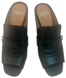 Franco Sarto Black with silver buckle Mules
