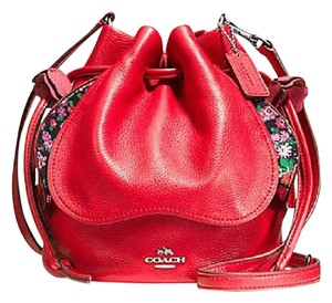 Coach Limited Edition New Floral Pebbled Leather Summer Satchel in Bright Red/Silver/Multicolor