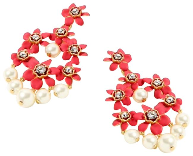 Item - Red Pearl and Crystal Floral Chandelier Earrings