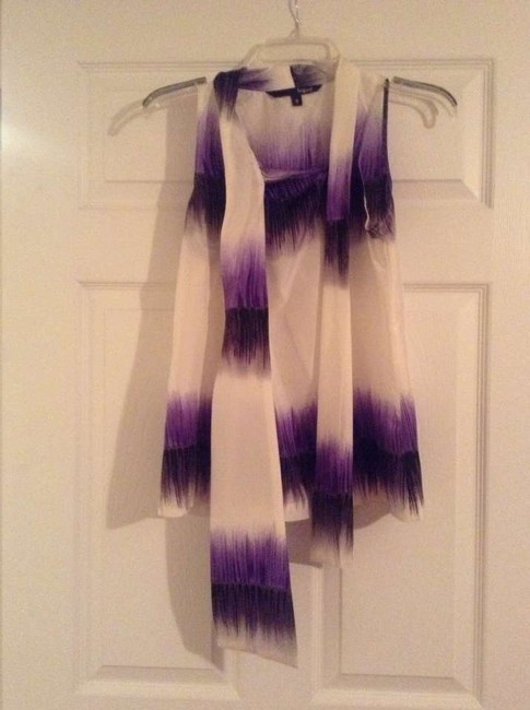 Other Top Liquid White, purple and black with tie