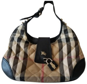 Burberry London Satchel in Black leather and brown