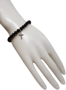 David Yurman Sterling silver David Yurman onyx bead cross charm bracelet