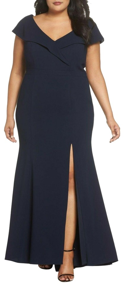 Xscape Navy Foldover V-neck Gown Long Formal Dress Size 14 (L) 61% off  retail