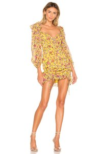 04a421a764 For Love & Lemons short dress Yellow Silk Floral Ruffle on Tradesy