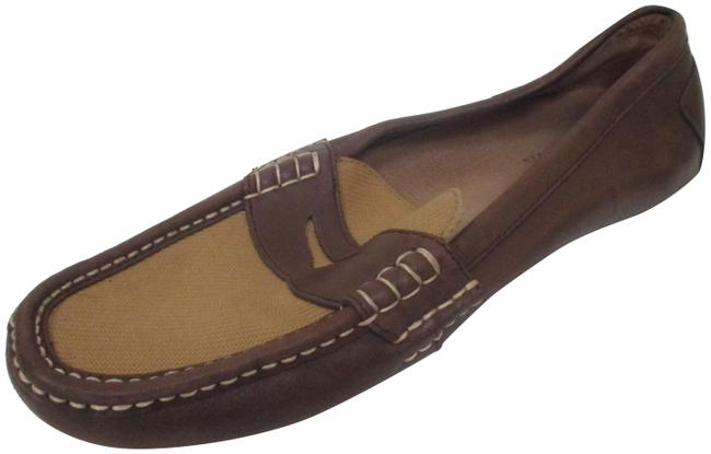 Item - Brown Leather Canvas Driving Penny Loafer - 14d Flats Size US 13 Wide (C, D)