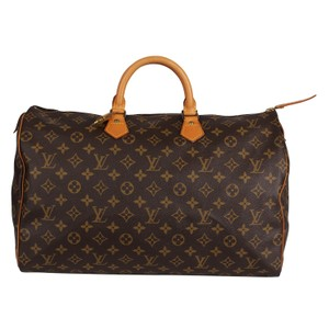 Louis Vuitton Monogram Canvas Leather Speedy Satchel in Brown