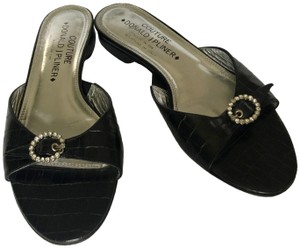 Donald J. Pliner Couture Alligator Rhinestone Buckle Leather Made In Italy Black Flats