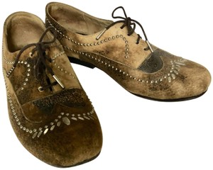 Calleen Cordero Handcrafted Studded Distressed Leather Brown Flats
