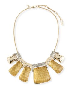 Alexis Bittar New ALEXIS BITTAR Rocky Metal Buckle Bib Necklace GOLD SNAKE Lucite