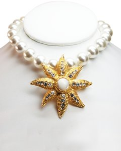 R.J. Graziano Graziano Mother of Pearl and Gold Necklace Enhancer and Brooch
