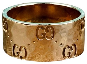 Gucci Gucci Icon 18k 750 Gold Hammered GG Ring SZ 5.5 SALE!